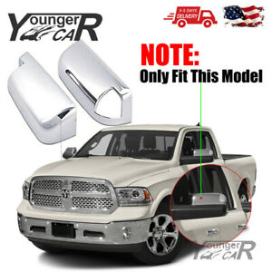 For 2009 2018 Dodge Ram 1500 Top Chrome Towing Mirror Covers Trim W turn Signal