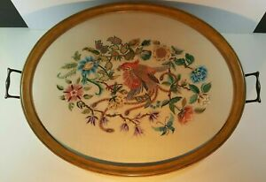 Antique Victorian Large Glazed Tray Hand Embroidered On Silk Bird Of Paradise