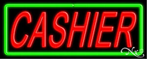 Cashier Handcrafted Real Glasstube Neon Sign