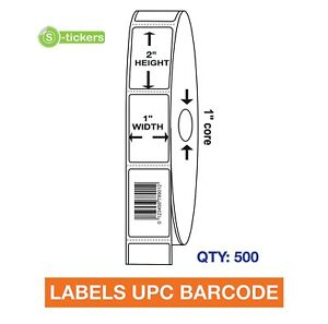 500 Labels Upc Barcode Codes Numbers 1x2