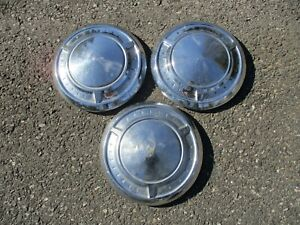 Lot Of 3 Genuine 1961 Pontiac Bonneville Dog Dish Hubcaps