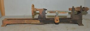 Early Cast Iron Bench Lathe For Wood Or Metal Turning Collectible Parts Repair