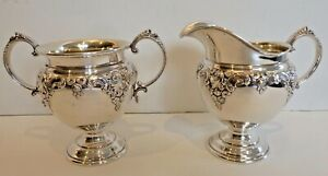 Wallace Grande Baroque Sterling Sugar Creamer W Gold Washed Interior