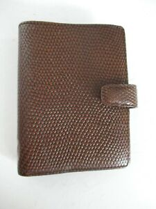 Filofax Pocket Chameleon Authentic 6 Ring Small Brown Leather Binder Agenda