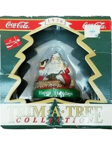 Coca Cola Trim A Tree Christmas Ornament Santa and Train From 1936 Advertisement