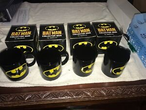 DC COMICS APPLAUSE BATMAN COFFEE MUG CUP BATMAN 4 MUG SET NEW IN BOXES