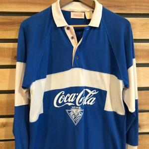 Rare VTG 80s Coca Cola Coke The Real Thing Color Block L/S Rugby Polo Shirt M