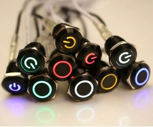 Metal Black Push Button Momentary Switch 12mm Waterproof Car Boat Led Light 12v