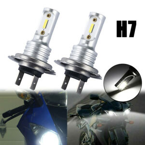 2x H7 Motorcycle Led Headlight Bulb Kit High Low Beam 30w 3600lm 6000k White Csp