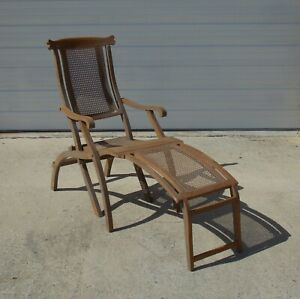 1900 S Folding Lounge Ship Boat Deck Wooden Chair Caned Antique Maybe Walnut
