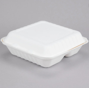 Take Out Food Container Bagasse Plates 9 Inch 3 Compartment Box 9 x9 x3 50 pack
