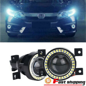 Fit 2016 2019 Honda Civic Led Fog Light Projector Lens Drlangel Eyes Halo Ring
