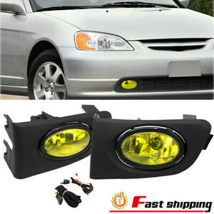 Fit Honda Civic 2001 2003 Bumper Replace Yellow Fog Lights Lamp W Switch Harness