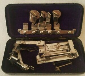 Antique Vintage Greist Sewing Machine Attachments In Metal Box Lot Thread Spools