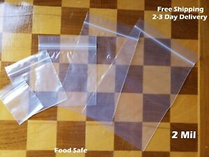Clear Reclosable Zip Top 2mil Bags Poly Plastic 2 Mil Lock Seal Baggies Jewelry