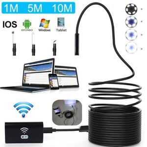 10m Wifi Endoscope Usb Borescope Camera Snake Inspection Waterproof Soft Cable