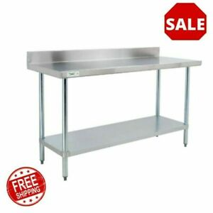 24 X 60 18 Gauge 304 Stainless Steel Commercial Work Table With 4 Backsplash