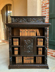 Antique English Carved Oak Bookcase Cabinet Renaissance Baroque Bookshelf Lion