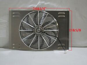 24 X 17 Universal Radiator Fan Shroud And 16 Chrome Fan 2600cfm