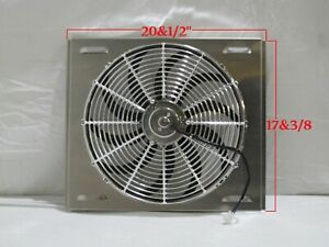 20 X 17 Universal Radiator Fan Shroud And 16 Chrome Fan 2600cfm