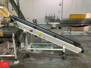 12 Wide X 10 Foot Long Smalley Portable Inclined Cleated Belt Conveyor
