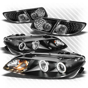 For 03 06 Mazda6 Black Halo Projector Headlights W led Led Tail Lights