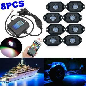 Auxbeam 8x Pods Rgb Led Rock Light Offroad Wireless Bluetooth Music Controller