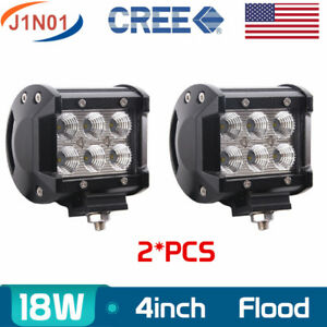 2x 4 18w Flood Led Off Road Work Light Bumper Lamp 12v24v Car Truck Driving