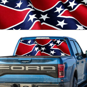 Rear Window Tint Graphic Decal American Cnfdrt Flag Pick up Truck