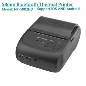 Usb Mini 58mm Bluetooth Wireless Mobile Pos 5802 Thermal Receipt Printer New