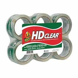 Duck Hd Clear Heavy Duty Packing Tape Refill 6 Rolls 1 88 6 pack