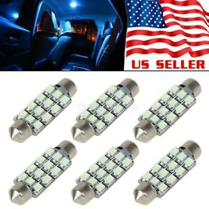 6pcs Ice Blue 12 Smd Led Lights 41 42 43mm Festoon Bulbs Interior Dome Map 578 1
