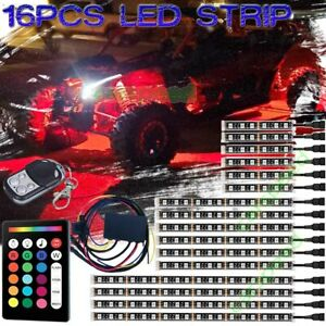 16x Rgb Led Neon Under Glow Light Kit Strip For Atv Polaris Rzr Utv Motorcycle