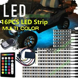 16pcs Rgb Golf Cart Under Body Glow Led Light Kit Accent Neon Lamp Music Control