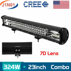 22 inch 324w Tri Row 7d Led Work Light Bar 4wd Truck Suv Atv Driving Lamp 23 24