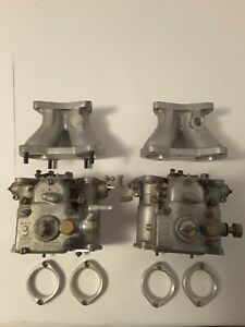 Pair Of Mgb Weber Carburetors 40 Dcoe Italian Made With Manifolds And Air Horns