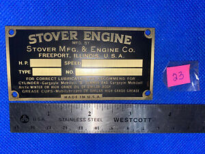 Stover Engine Co Reproduction Brass Tag Name Plate Hit Miss Gas