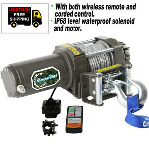 4500lbs 12v Electric Recovery Winch Atv Utv Truck Trailer Offroad Remote 4wd New