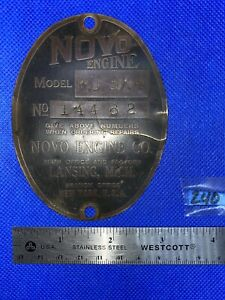 Tag For Novo Model Ku3x4 Hit Miss Gas Engine Antique Name Plate Brass