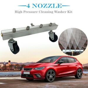 High Pressure Car Washer Cleaner Chassis Road Cleaning Broom Kit 4 Spray Nozzle