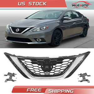For Nissan Sentra 2016 2018 Front Bumper Upper Grille Chrome Grill 62310 3yu0a