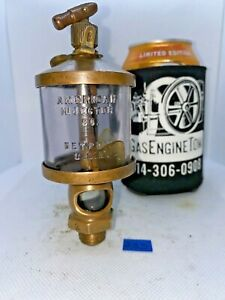 American Injector No 2 Brass Oiler Embossed Glass Hit Miss Gas Engine Antique