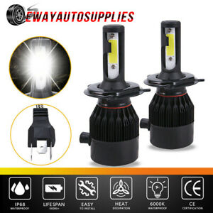 H4 Hb2 9003 Led Headlight Kit 2 Bulbs High Low Beam 6500k White 2600w 390000lm