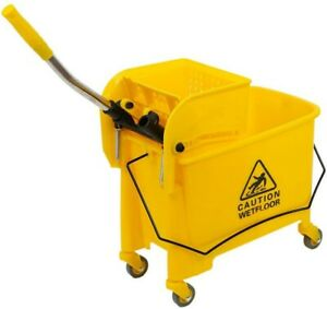5 Gallon Mop Bucket W wringer Combo Commercial Rolling Cleaning Cart Trolley