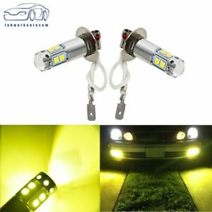 Pair H3 3000k Yellow For 100w High Power Led Fog Light Driving Bulb Drl