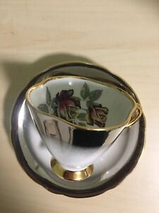 Silver Windsor Tea Cup And Saucer With Black Red Rose