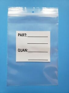 6 X 8 Parts Bags Reclosable Plastic Zip Lock Heavy 4mil Hang Hole White Block