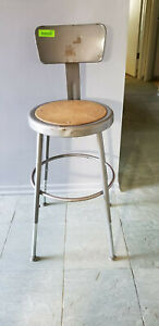 Vintage Industrial Stool With Back Lab Shop Bar Mid Century Machine Age