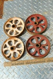 Vintage Antique Small Cast Iron Wheels Hit Miss Gas Engine Steam Industrial Cart