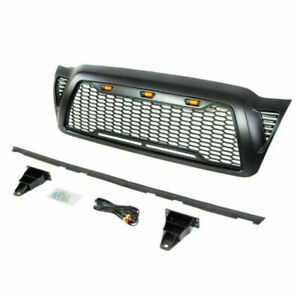 For 2005 2011 Toyota Tacoma Front Grille Abs Honeycomb Hood Grill W Led Lights